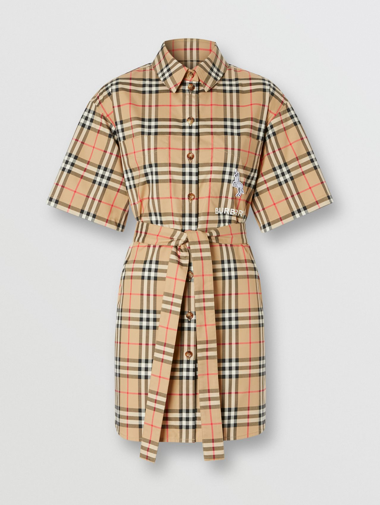 Zebra Appliqué Vintage Check Cotton Twill Shirt Dress in Archive Beige