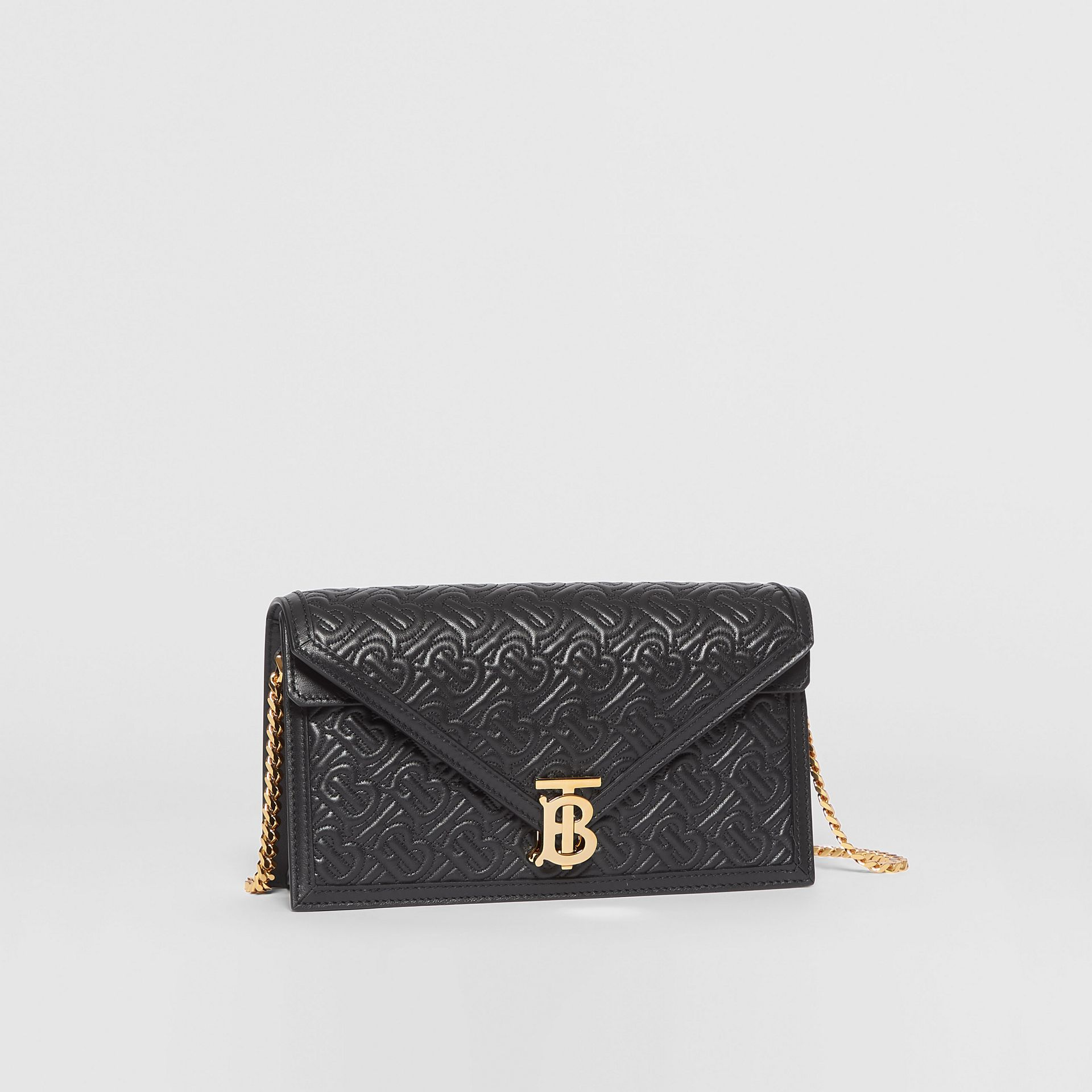 Small Quilted Monogram TB Envelope Clutch in Black - Women | Burberry - gallery image 4