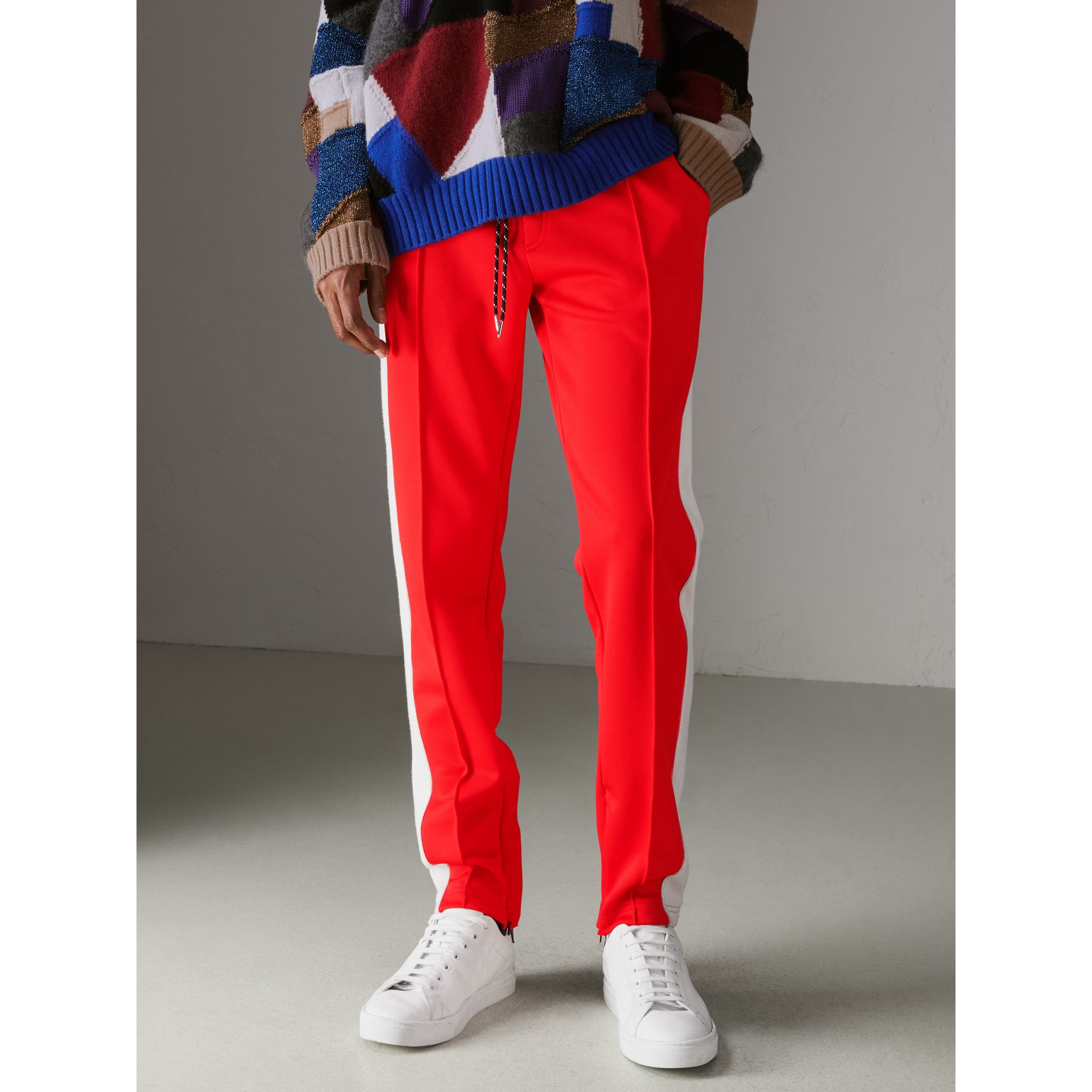 Sport Stripe Cotton Blend Drawcord Trousers in Bright Red - Men | Burberry United States - gallery image 4
