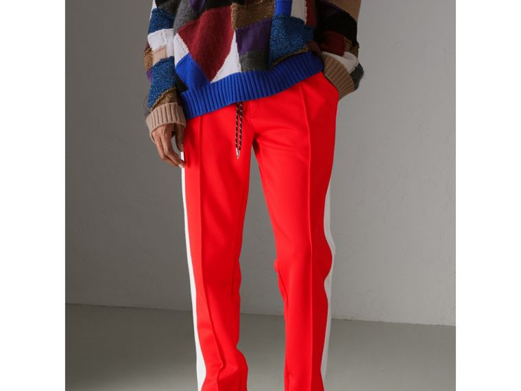 Sport Stripe Cotton Blend Drawcord Trousers in Bright Red - Men | Burberry - cell image 4