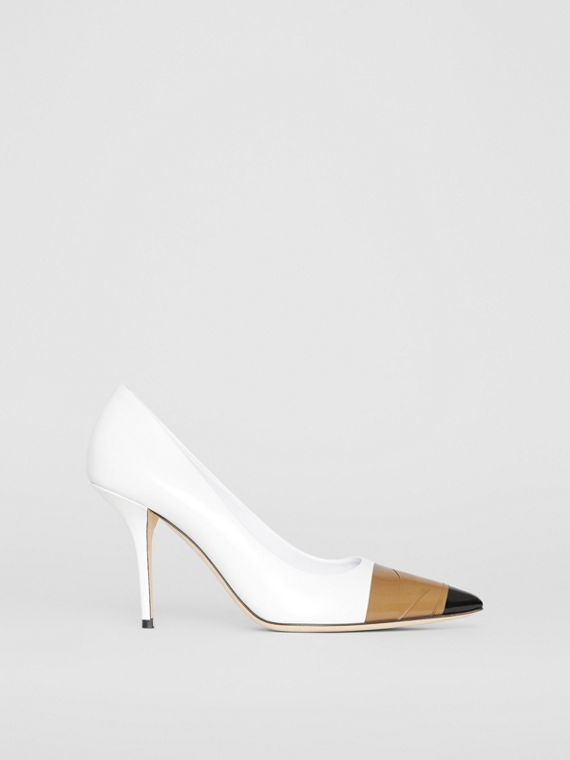 Tape Detail Leather Pumps in Optic White/ Black