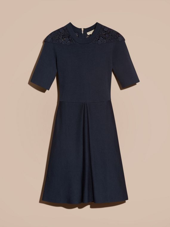 Navy Macramé Lace Detail Silk Blend Dress Navy - cell image 3