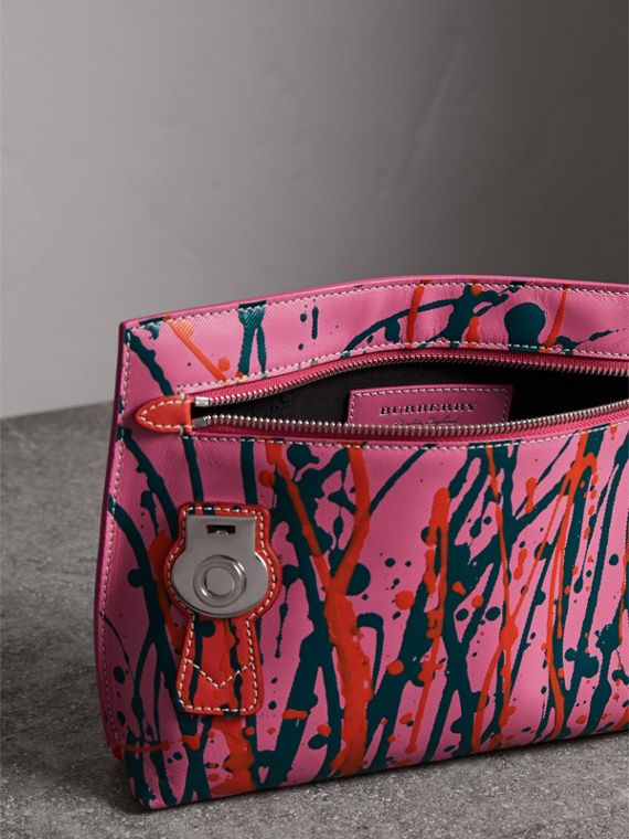 Splash Trench Leather Pouch in Rose Pink/orange Red - Women | Burberry - cell image 2