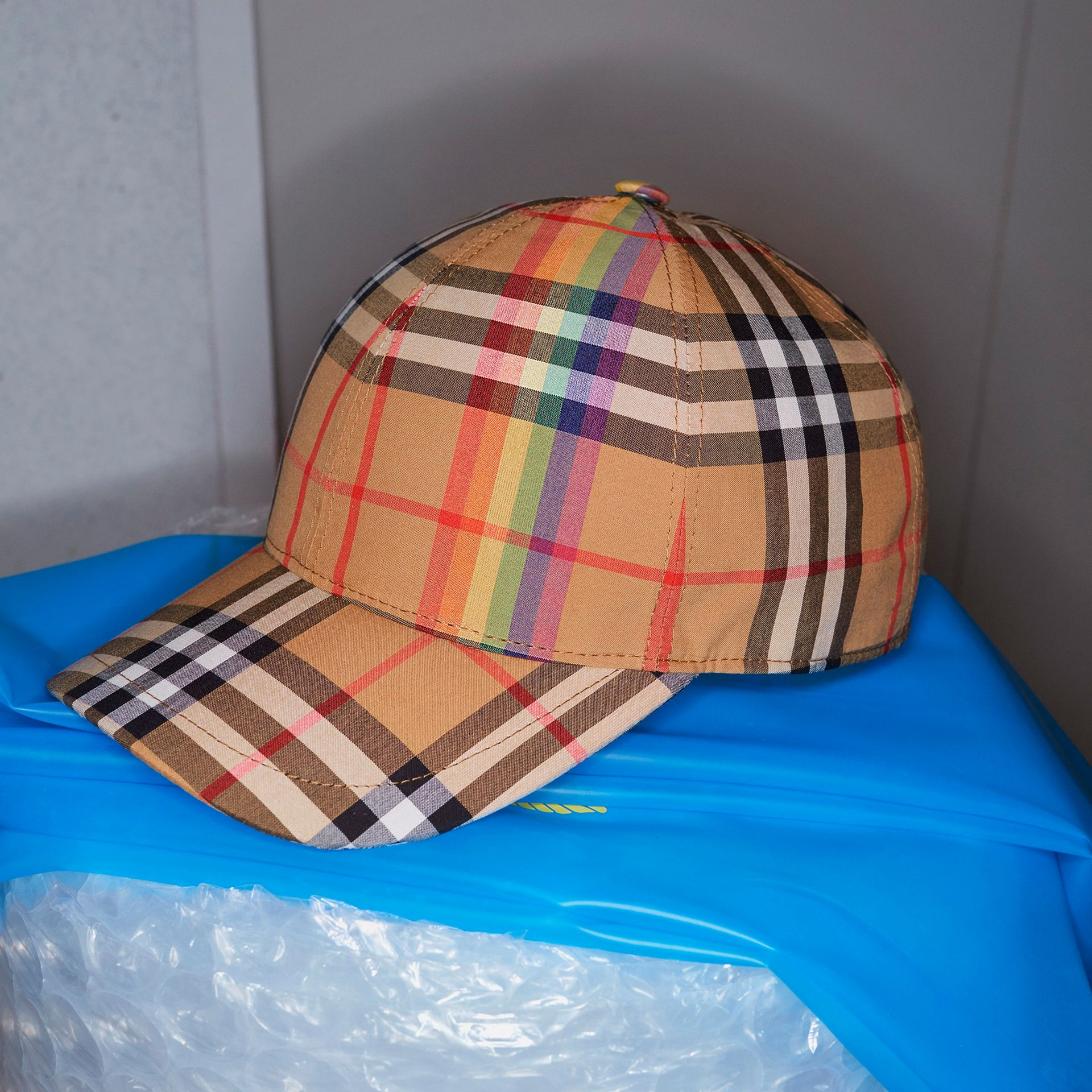 Rainbow Vintage Check Baseball Cap in Antique Yellow/rainbow | Burberry Australia - gallery image 4