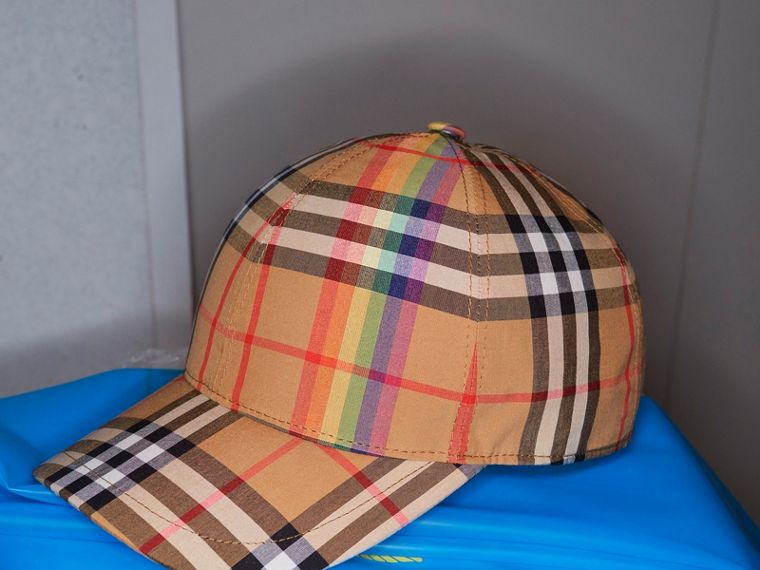 Rainbow Vintage Check Baseball Cap in Antique Yellow/rainbow | Burberry Hong Kong - cell image 4