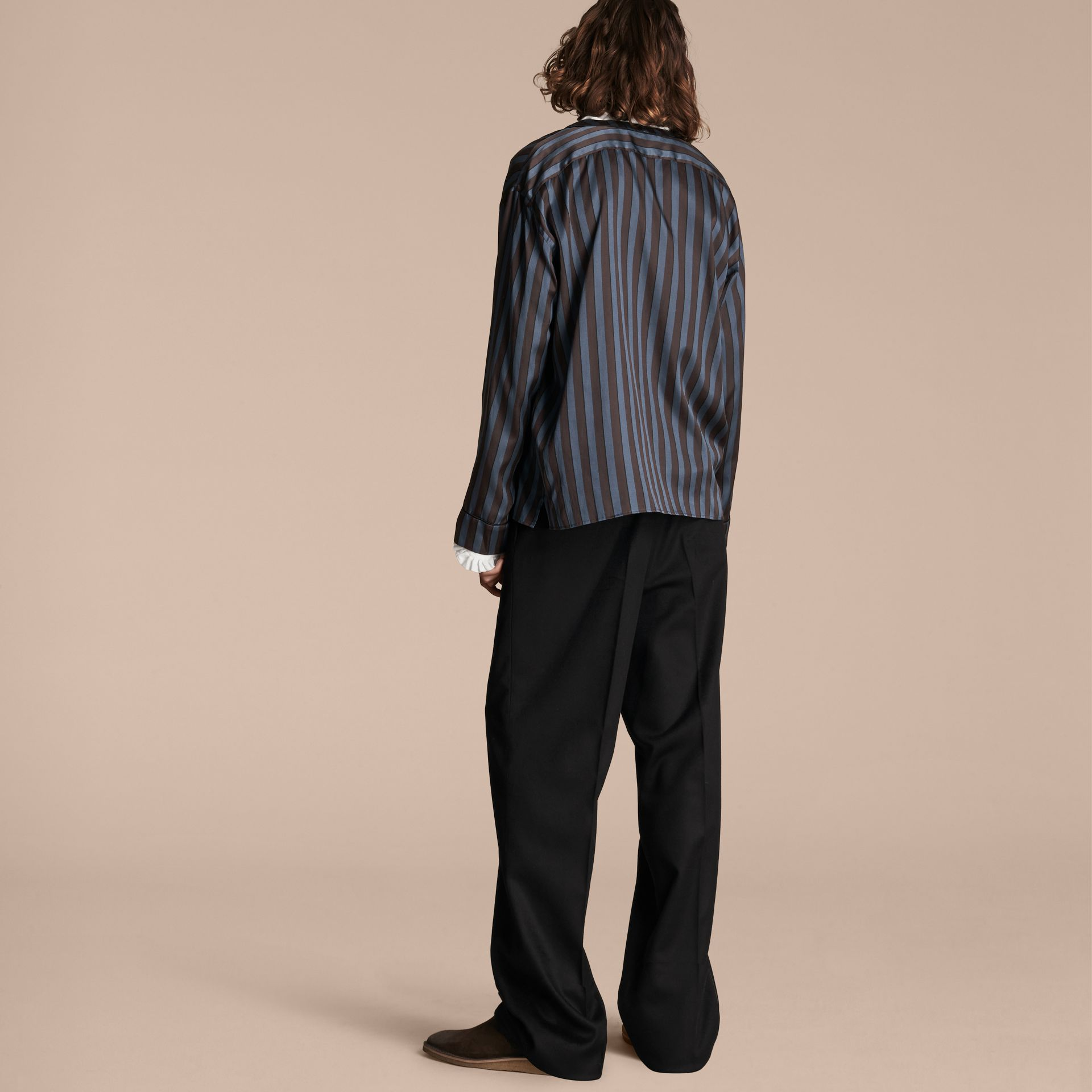 Navy Pyjama Stripe Silk Cotton Collarless Shirt - gallery image 3