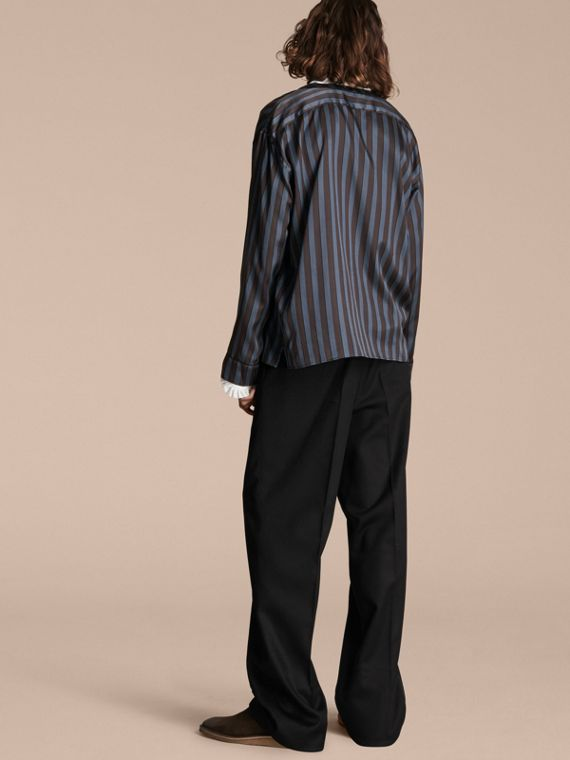 Navy Pyjama Stripe Silk Cotton Collarless Shirt - cell image 2