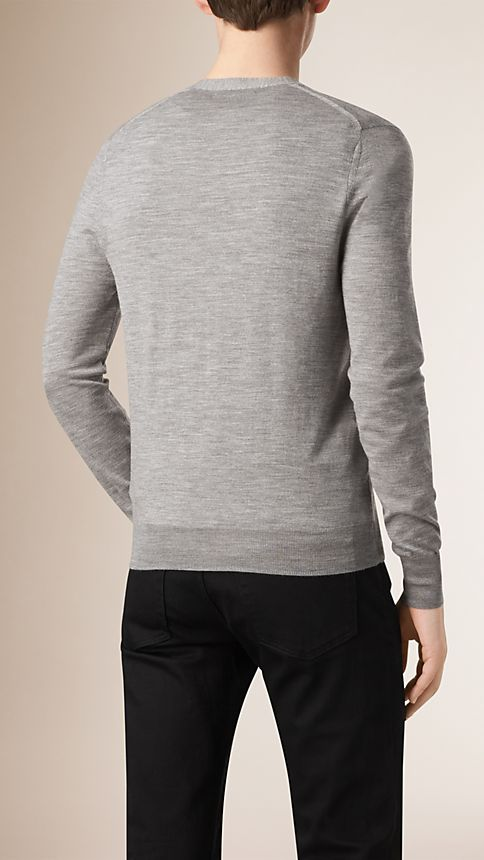 Mid grey melange V-Neck Merino Wool Cardigan - Image 3