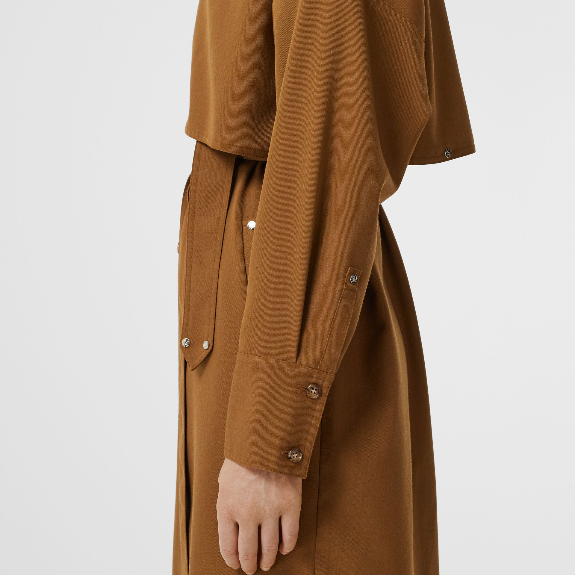 Wool Twill Blend Belted Shirt Dress in Maple - Women | Burberry United Kingdom - gallery image 4
