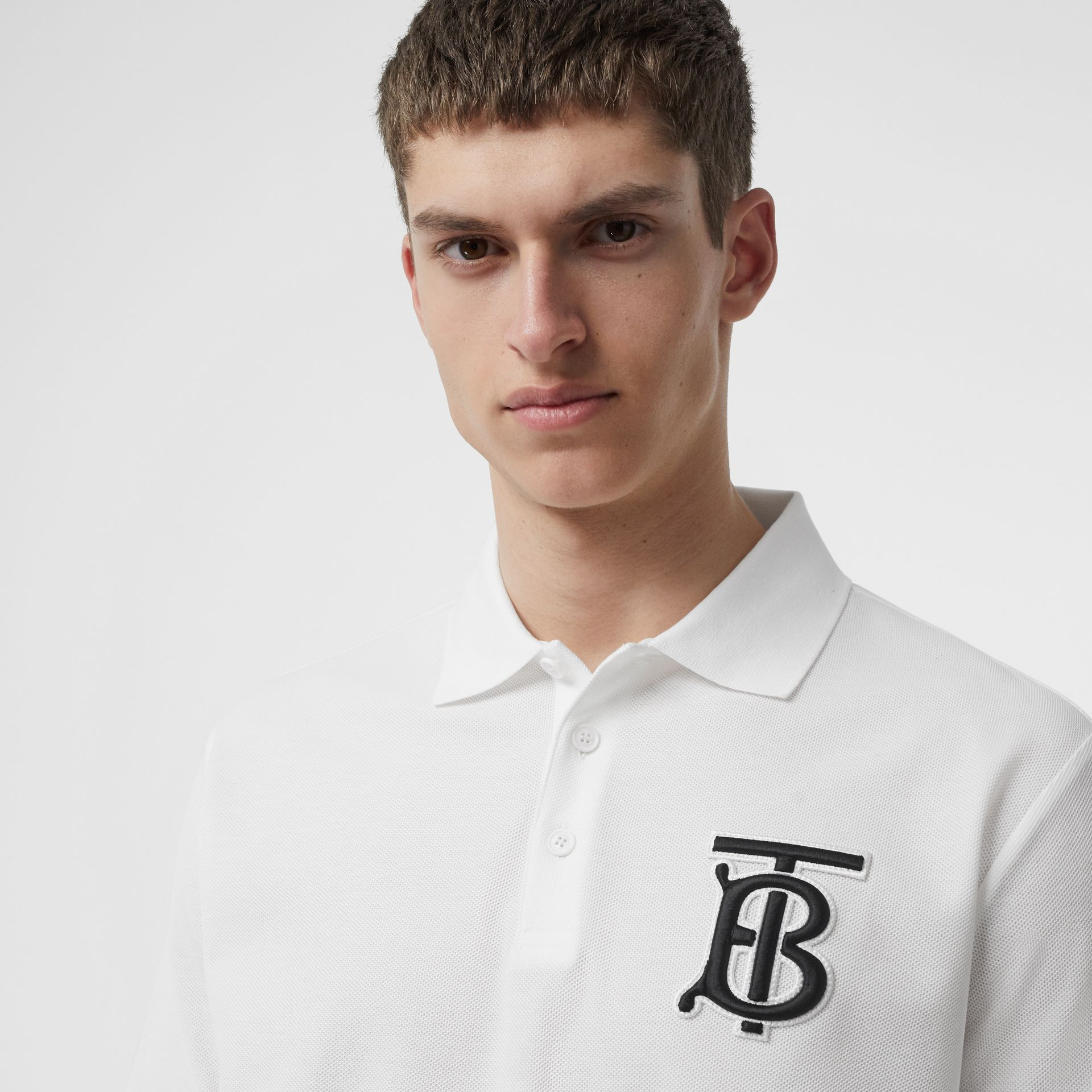 Monogram Motif Cotton Piqué Polo Shirt in White - Men | Burberry - gallery image 1
