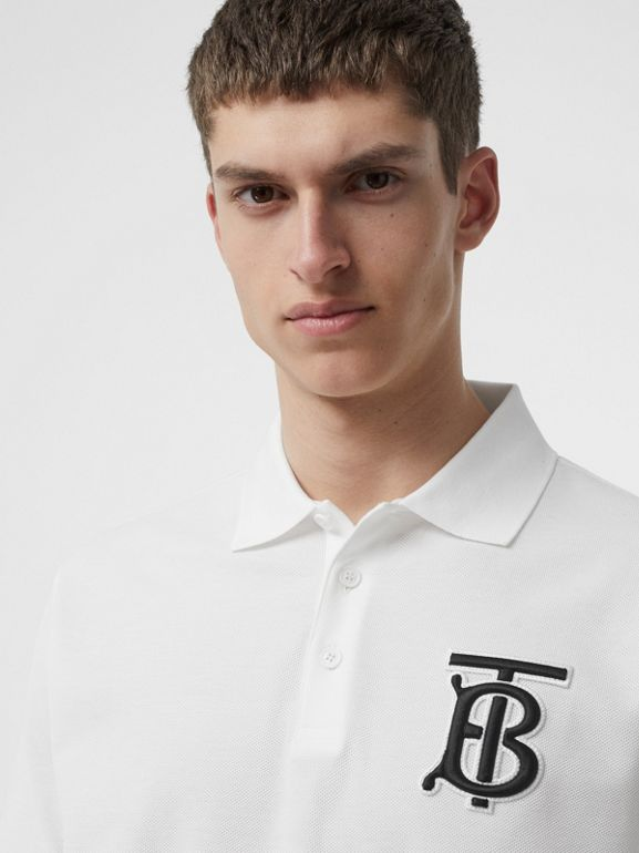 Monogram Motif Cotton Piqué Oversized Polo Shirt in White - Men | Burberry - cell image 1