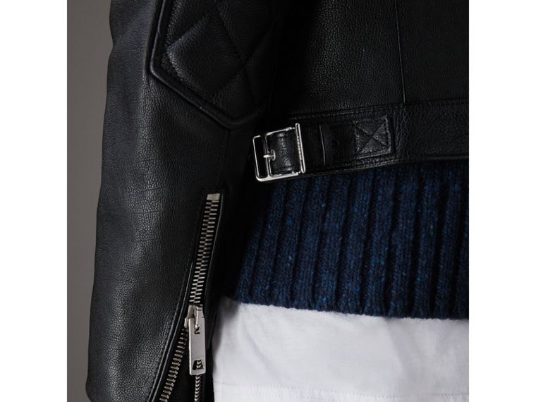 Diamond Quilted Detail Leather Biker Jacket in Black - Men | Burberry - cell image 4