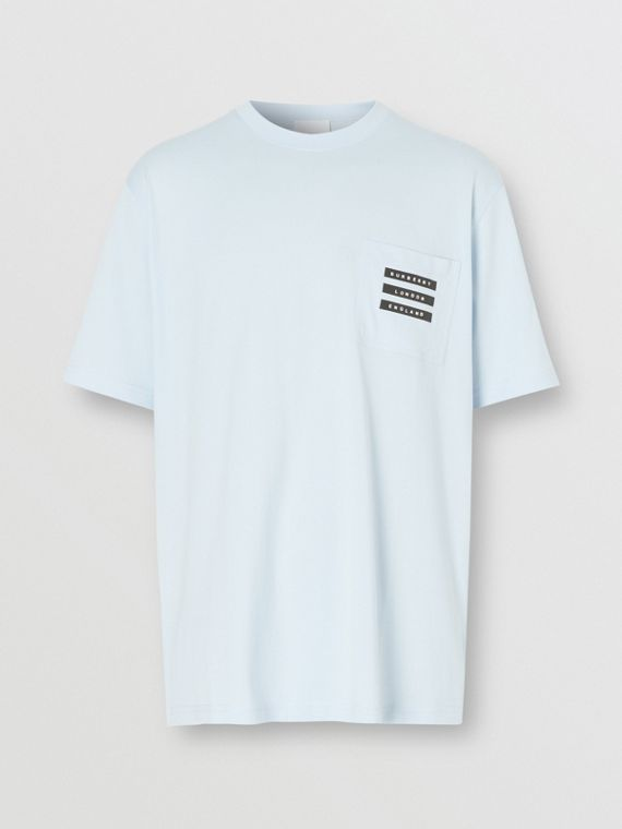 Tape Print Cotton T-shirt in Pale Blue