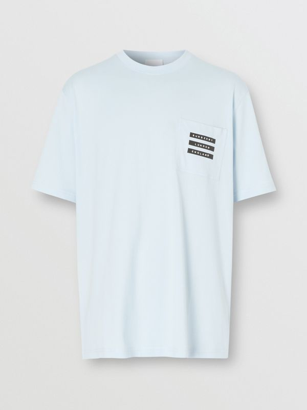 Tape Print Cotton T-shirt in Pale Blue - Men | Burberry - cell image 3
