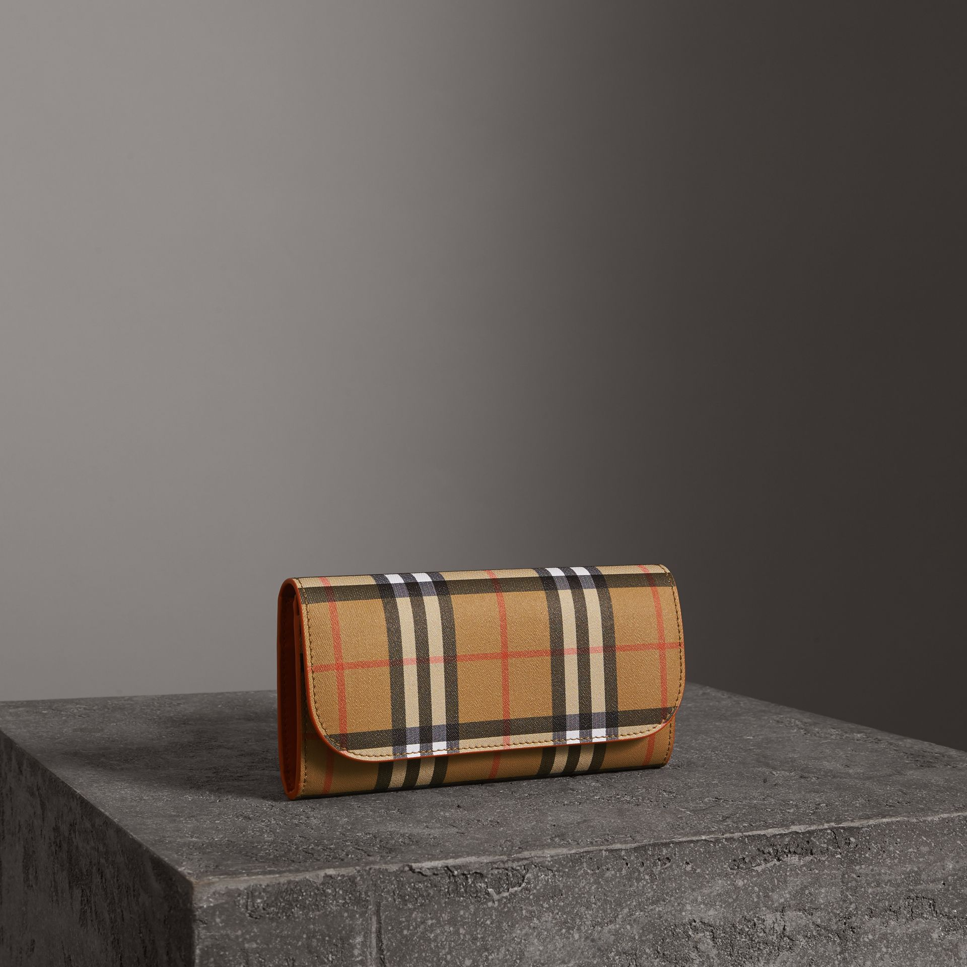 Vintage Check and Leather Continental Wallet in Clementine - Women | Burberry United States - gallery image 0