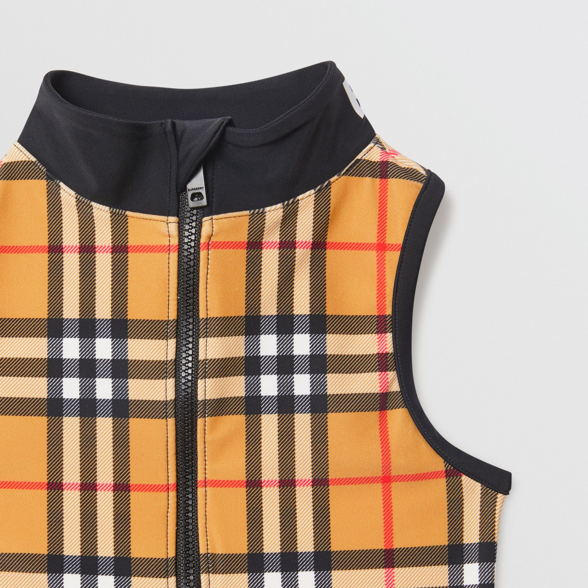 Logo Detail Vintage Check One-piece Swimsuit in Antique Yellow | Burberry - gallery image 4