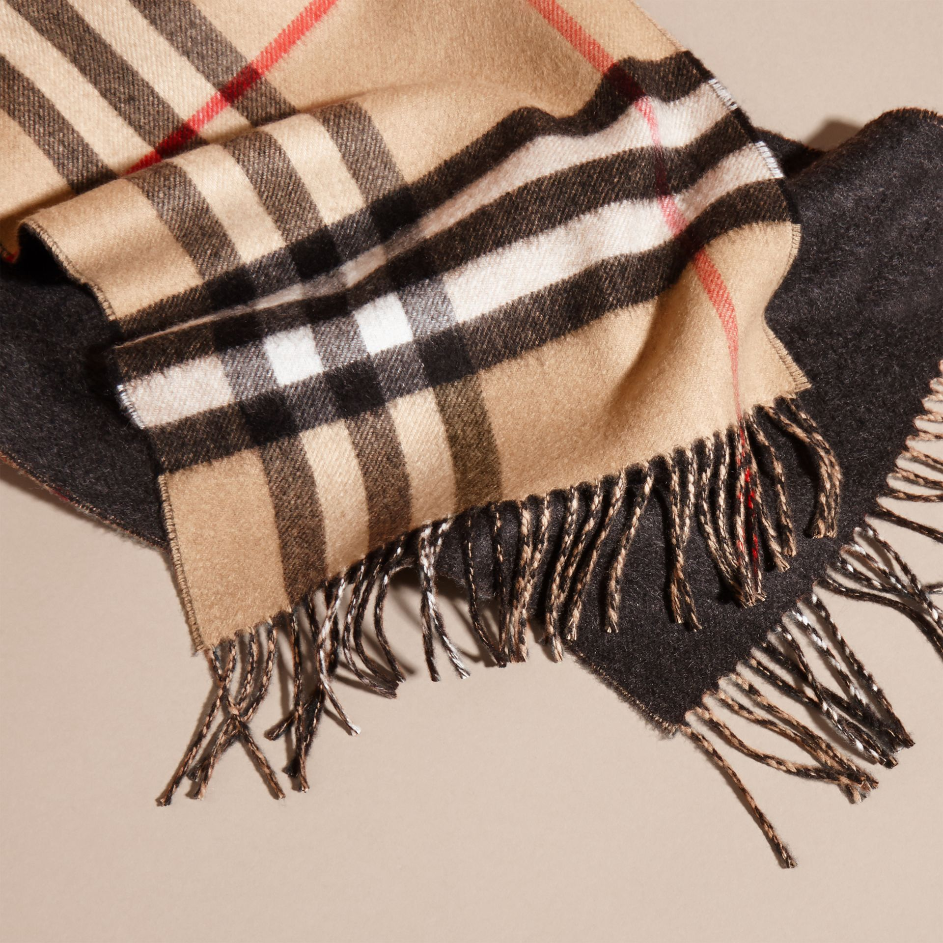 Reversible Check Cashmere and Block-colour Scarf in Camel/charcoal - gallery image 5