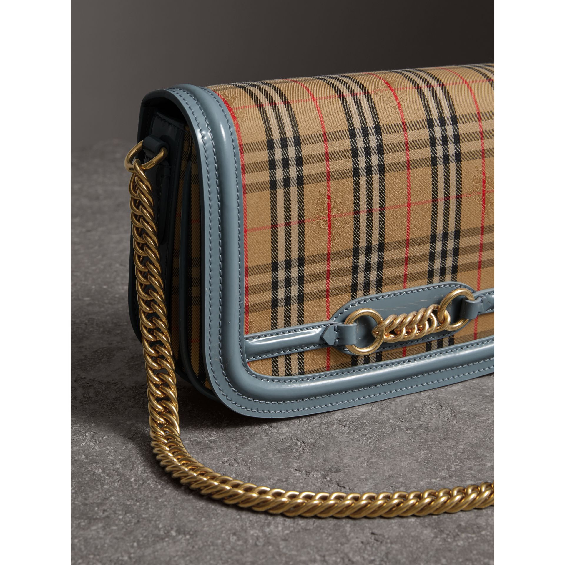 The 1983 Check Link Bag with Patent Trim in Blue Sage - Women | Burberry Singapore - gallery image 6