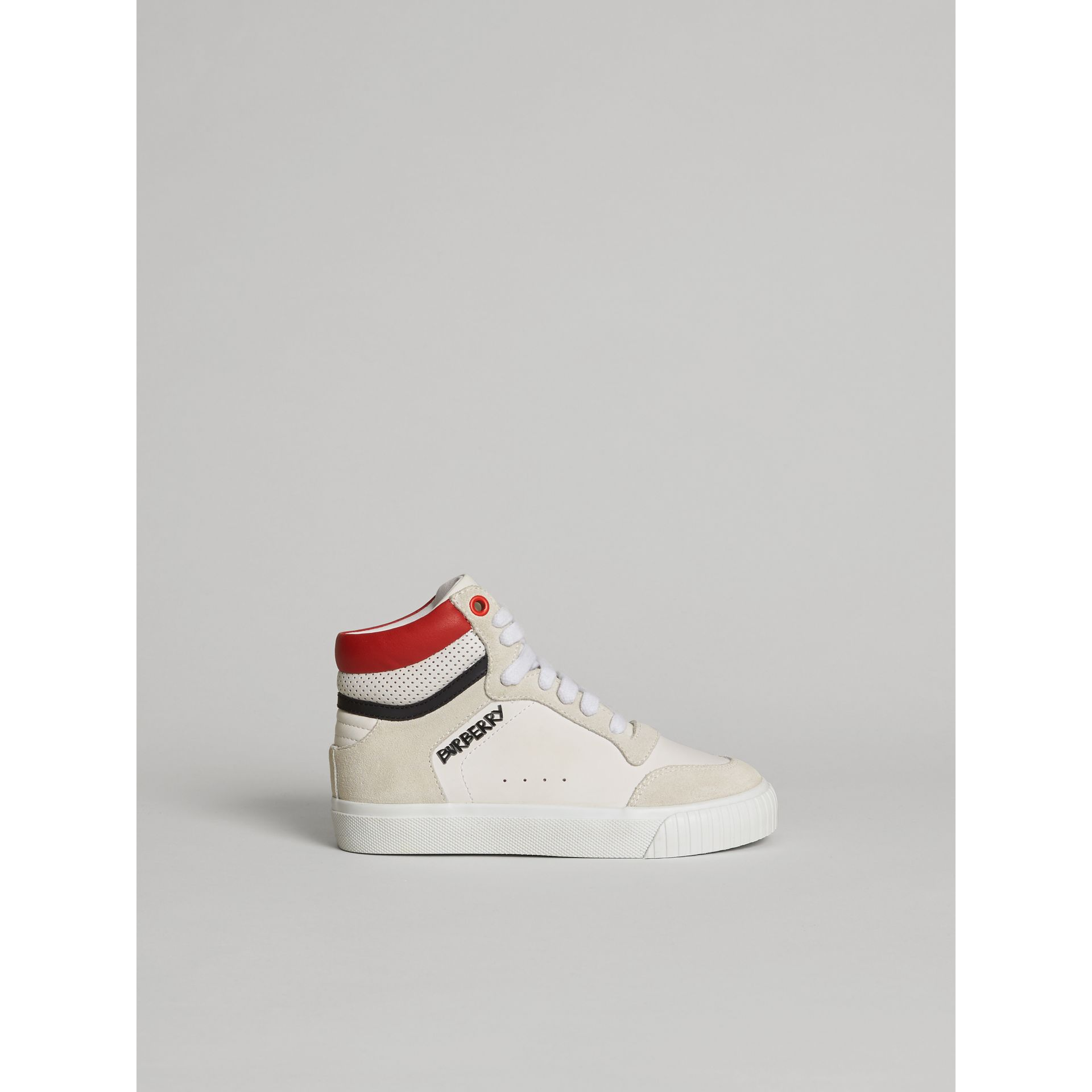 Leather and Suede High-top Sneakers in Optic White | Burberry - gallery image 4