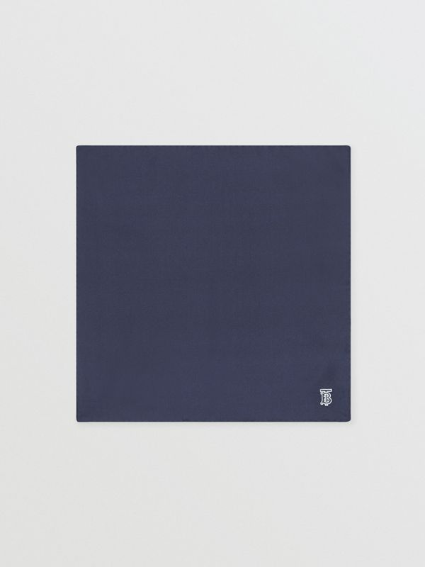 Monogram Motif Silk Pocket Square in Navy Blue - Men | Burberry - cell image 3