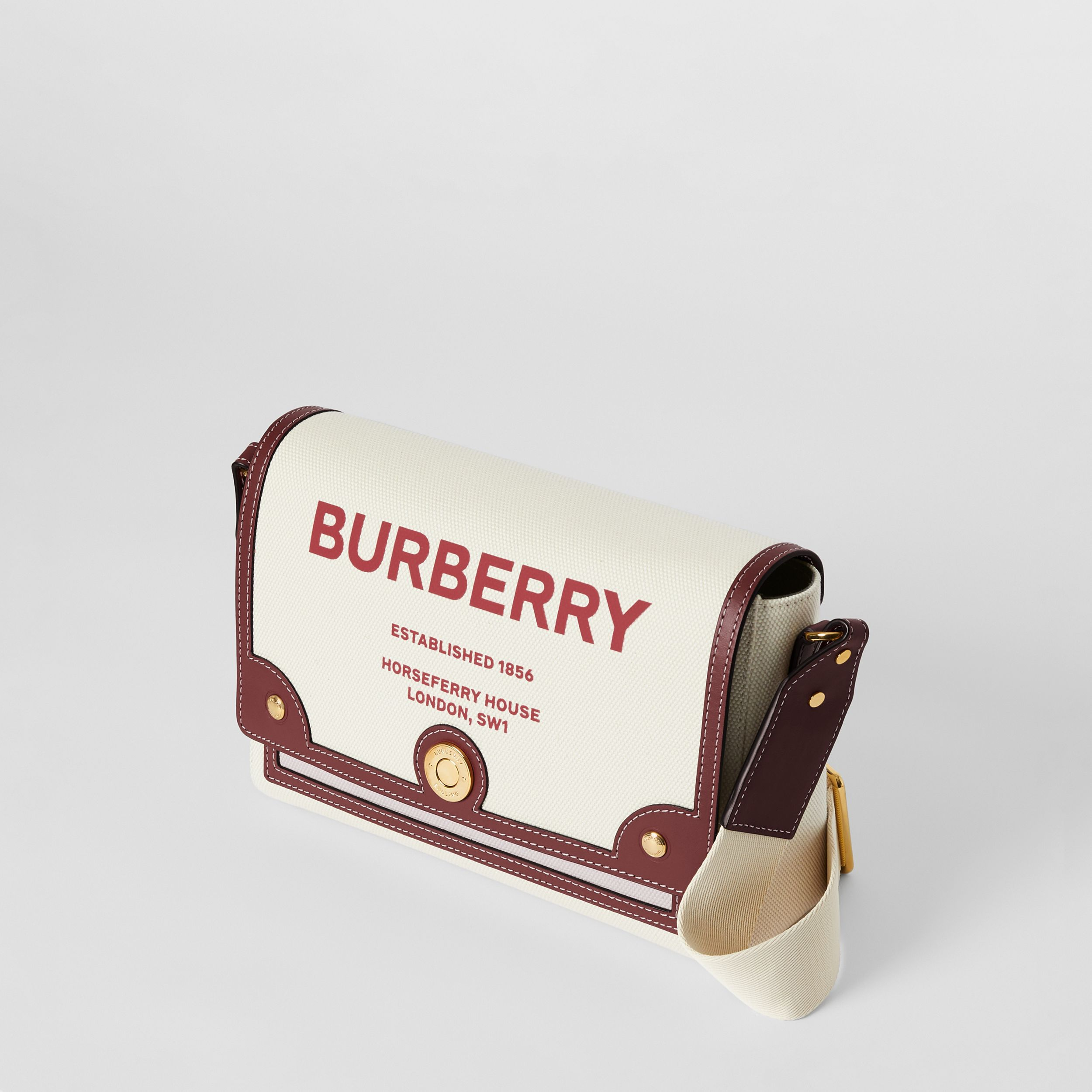 Horseferry Print Canvas Note Crossbody Bag in Natural/garnet - Women | Burberry United Kingdom - 4