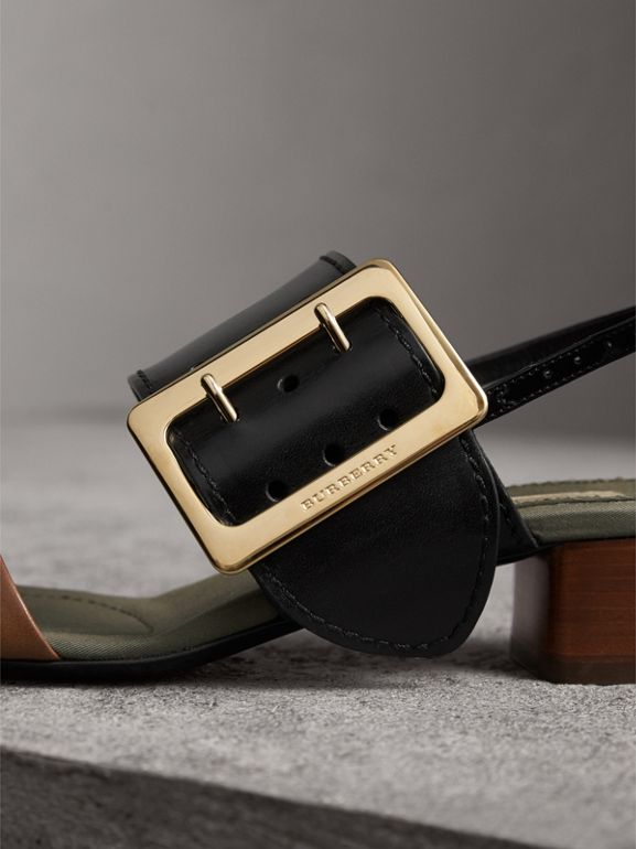Buckle Detail Leather Mid-heel Sandals in Black - Women   Burberry United States - cell image 1