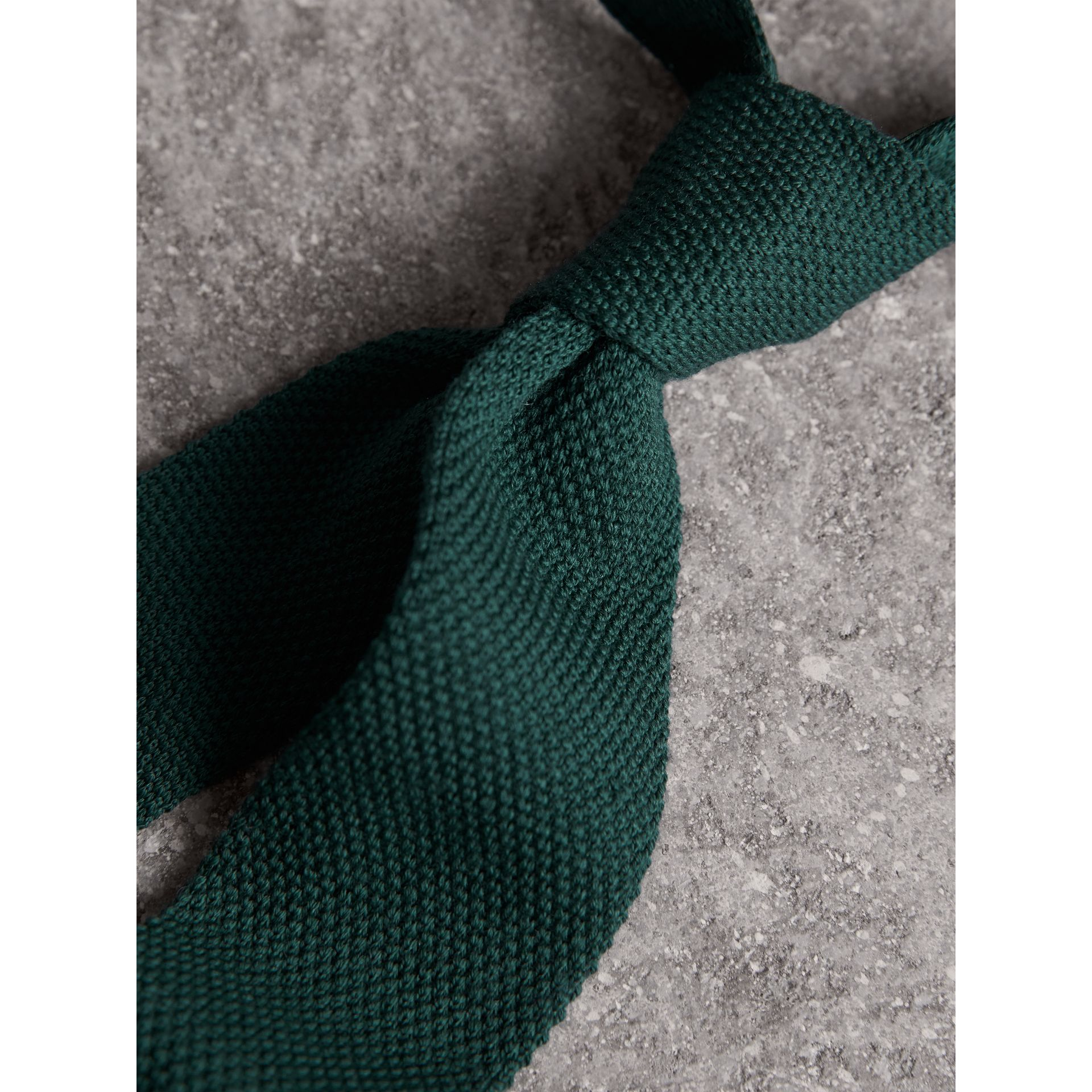 Slim Cut Waffle Knit Wool Tie in Dark Forest Green - Men | Burberry - gallery image 2