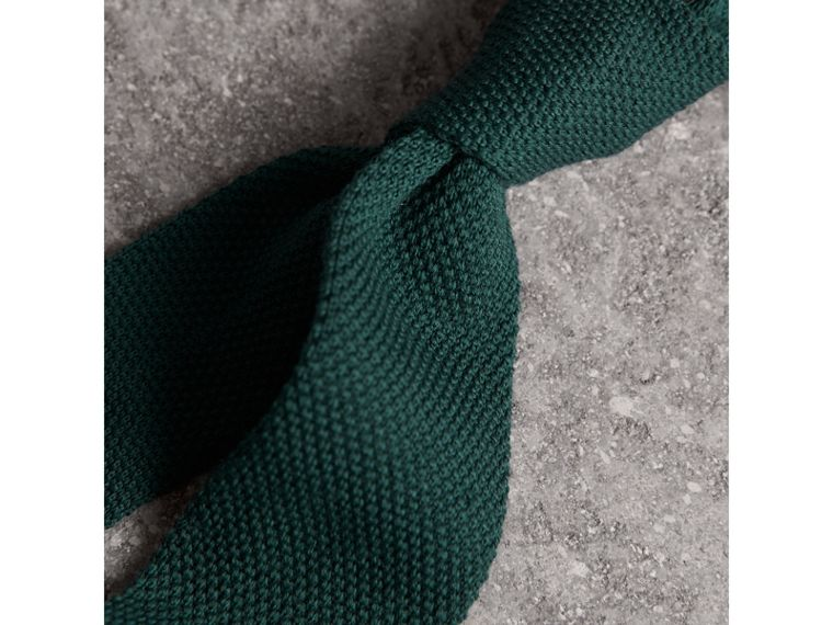 Slim Cut Waffle Knit Wool Tie in Dark Forest Green - Men | Burberry - cell image 1