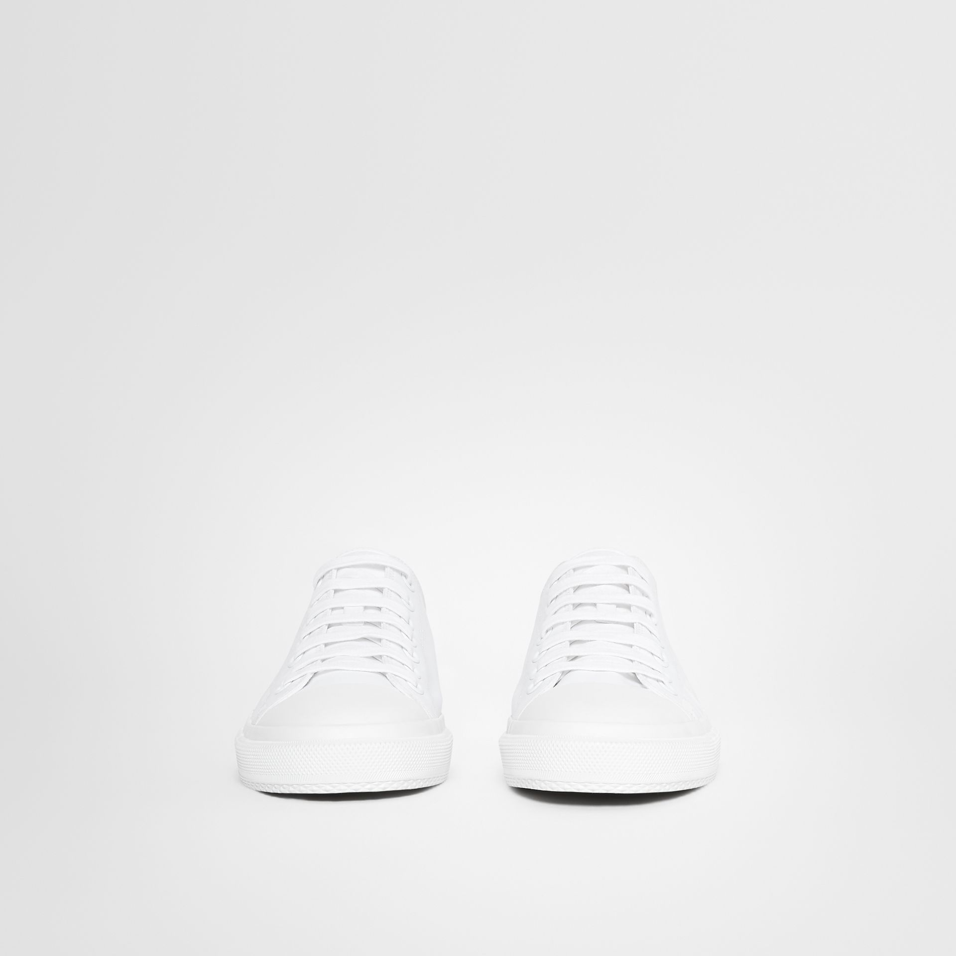 Men's Logo Print Cotton Gabardine Sneakers in Optic White - Men | Burberry United Kingdom - gallery image 3