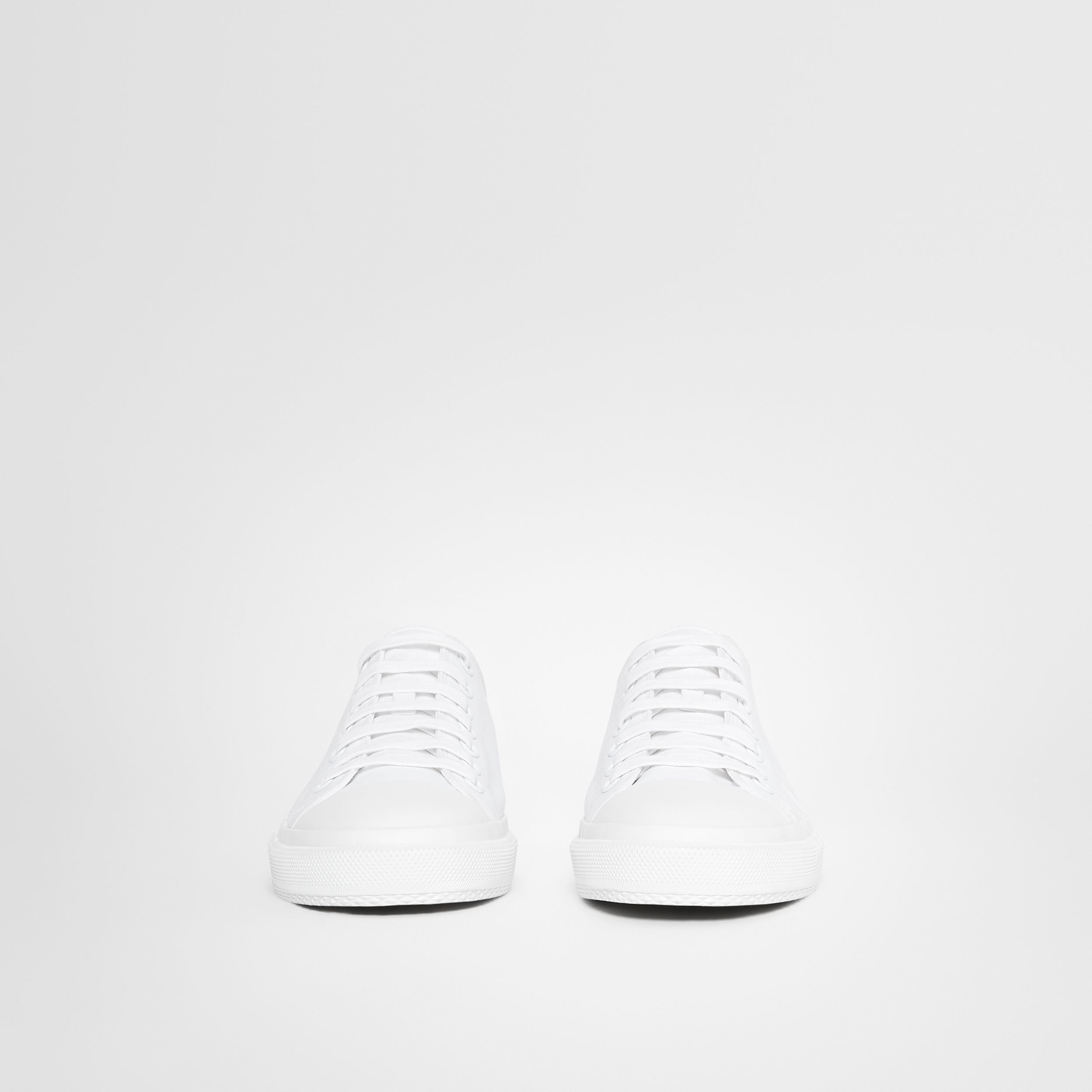 Men's Logo Print Cotton Gabardine Sneakers in Optic White - Men | Burberry - 4