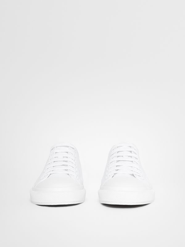 Men's Logo Print Cotton Gabardine Sneakers in Optic White - Men | Burberry - cell image 3