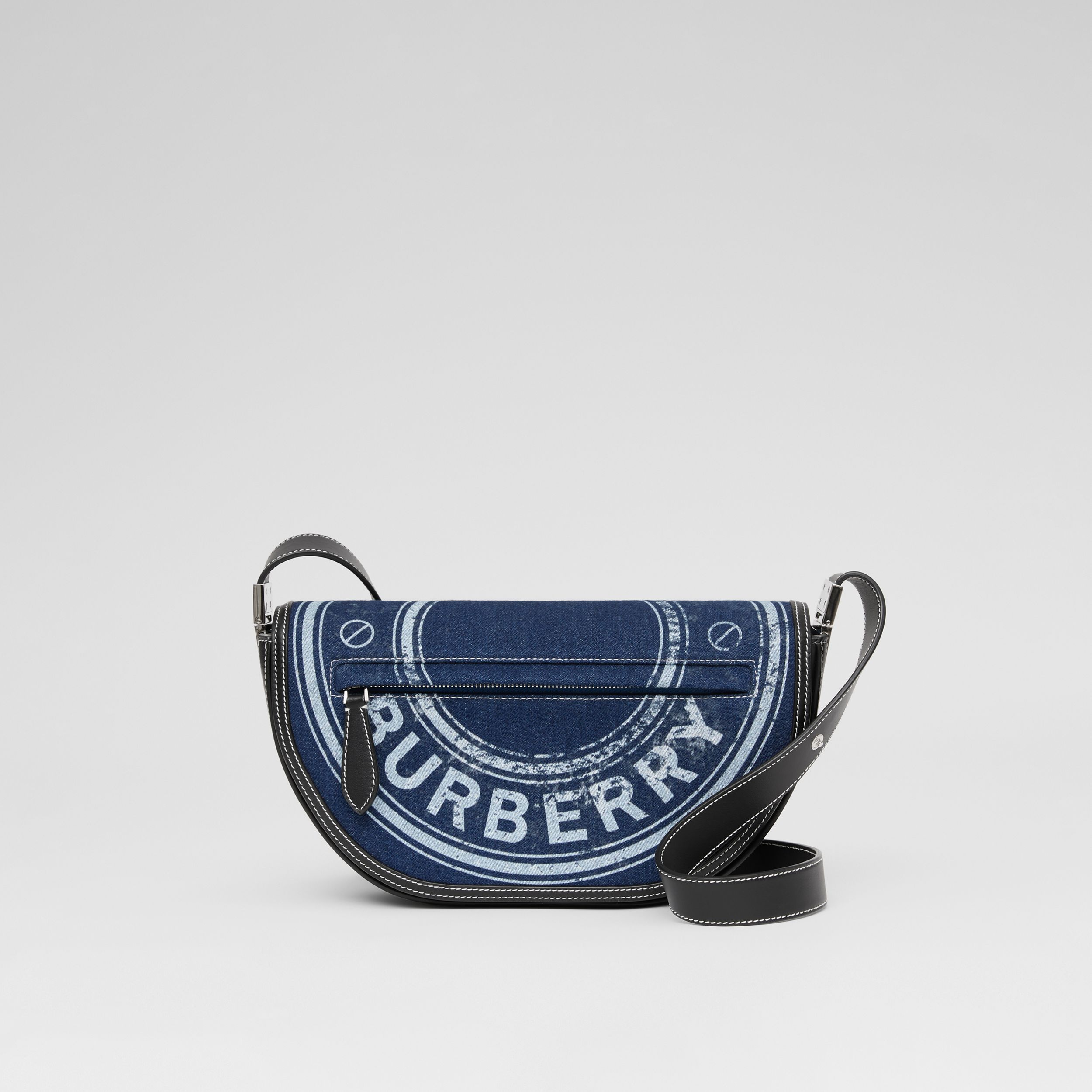 Small Logo Graphic Denim and Leather Olympia Bag in Dark Canvas Blue - Women | Burberry - 4