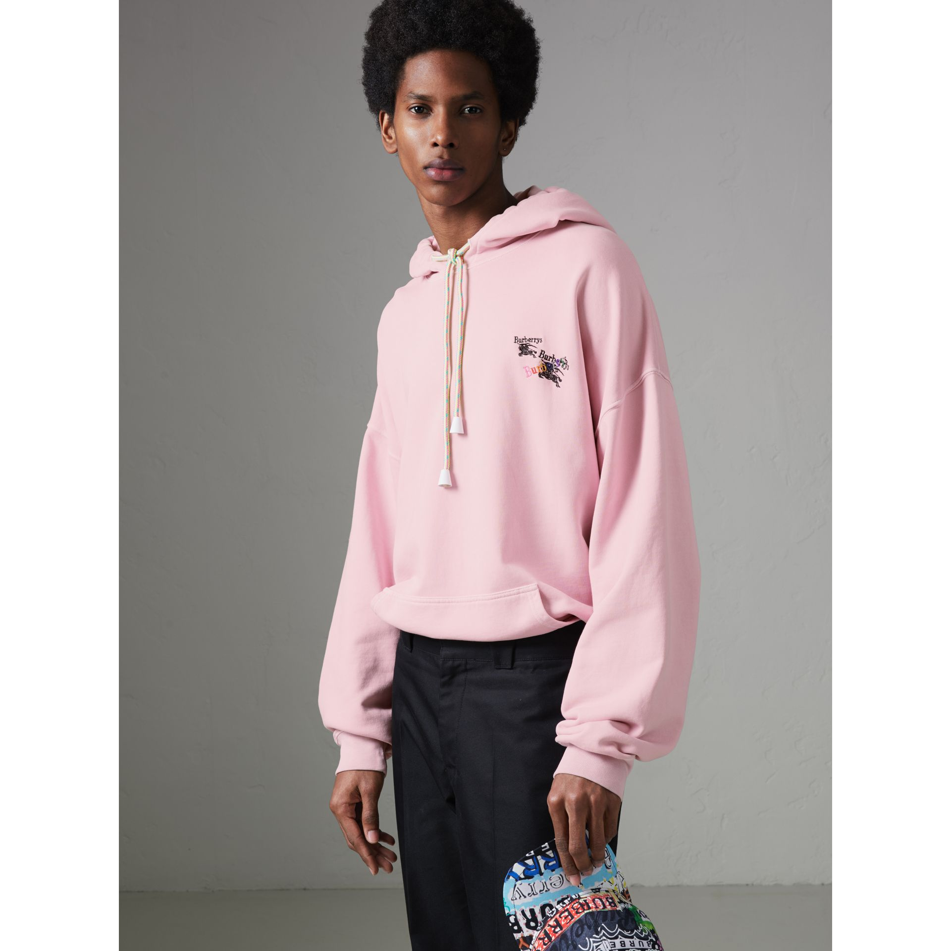 Equestrian Logo Embroidery Cotton Oversized Hoodie in Light Pink - Men | Burberry - gallery image 4