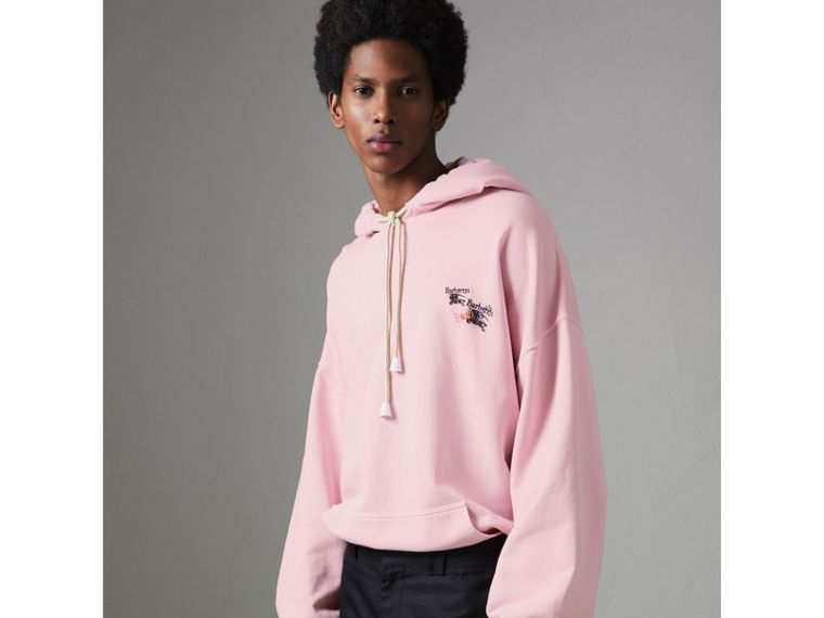 Equestrian Logo Embroidery Cotton Oversized Hoodie in Light Pink - Men | Burberry Singapore - cell image 4