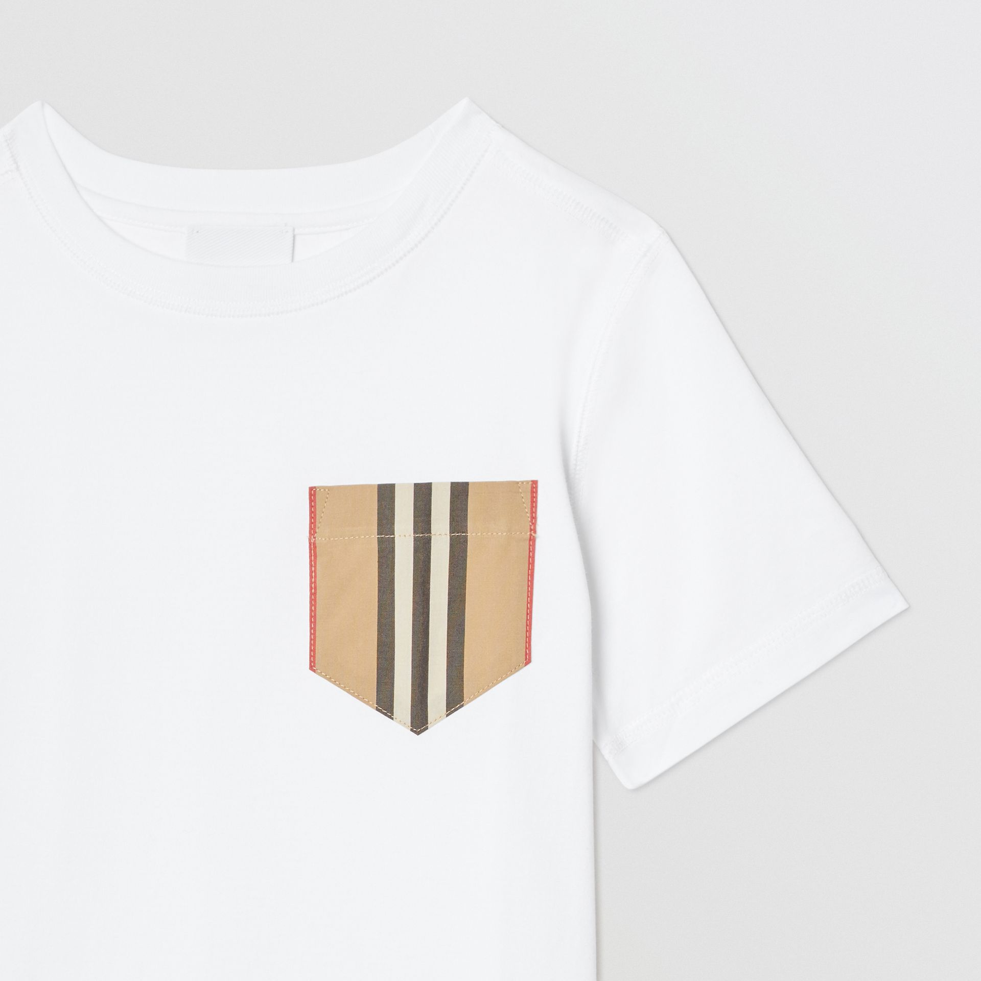 Icon Stripe Pocket Cotton T-shirt in White/archive Beige | Burberry - gallery image 4