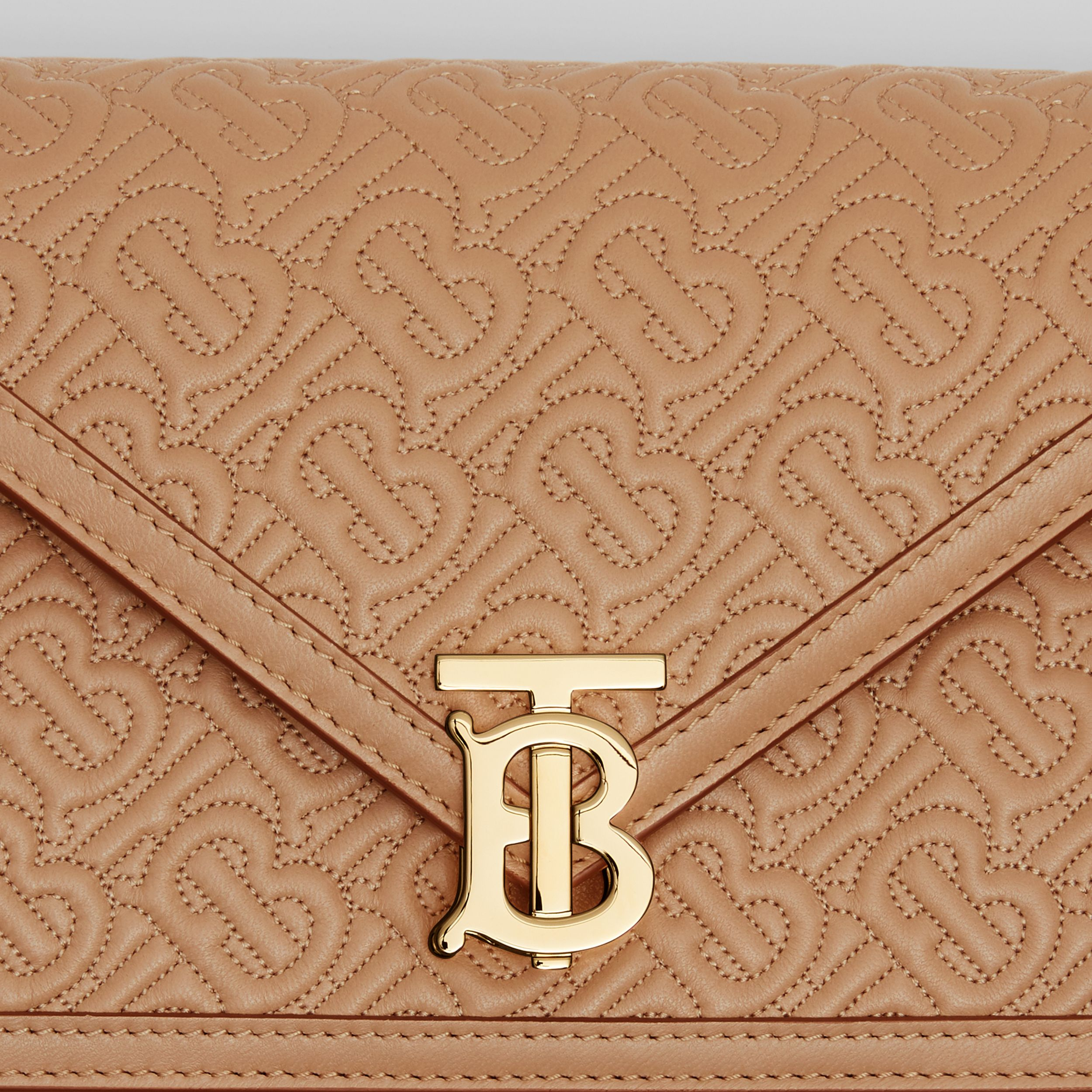 Small Quilted Monogram TB Envelope Clutch in Honey - Women | Burberry - 2