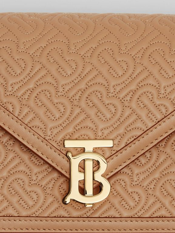 Small Quilted Monogram TB Envelope Clutch in Honey - Women | Burberry - cell image 1