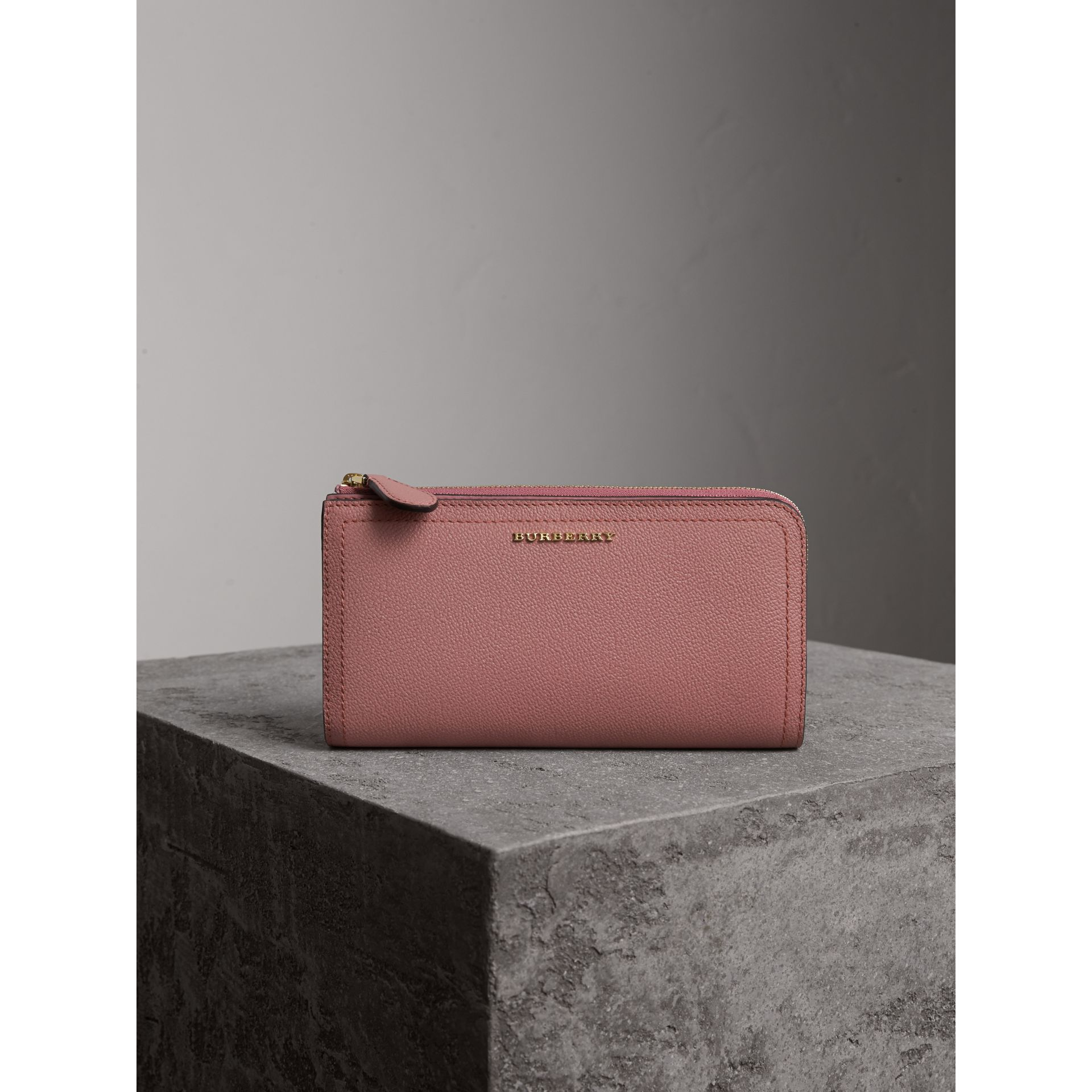 Grainy Leather Ziparound Wallet in Dusty Pink - gallery image 6
