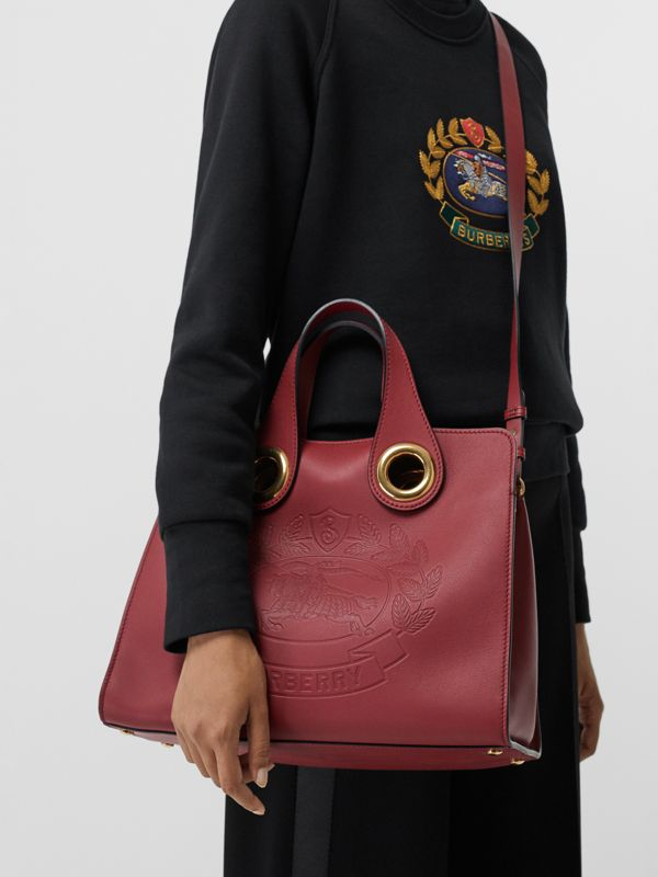 The Leather Crest Grommet Detail Tote in Crimson - Women | Burberry - cell image 3