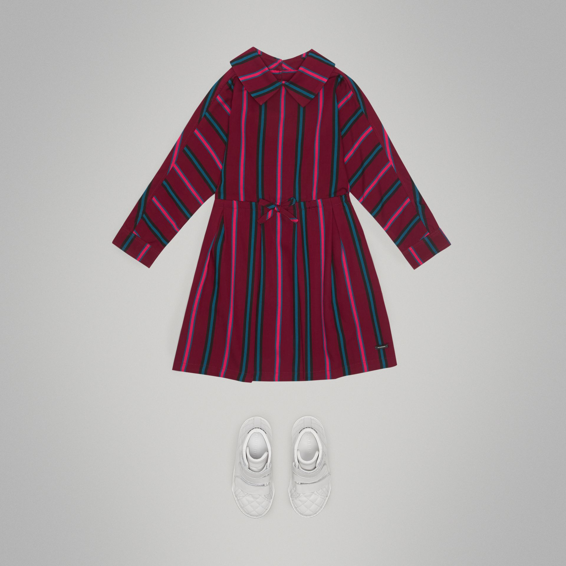 Striped Drawcord Dress in Burgundy - Girl | Burberry - gallery image 2