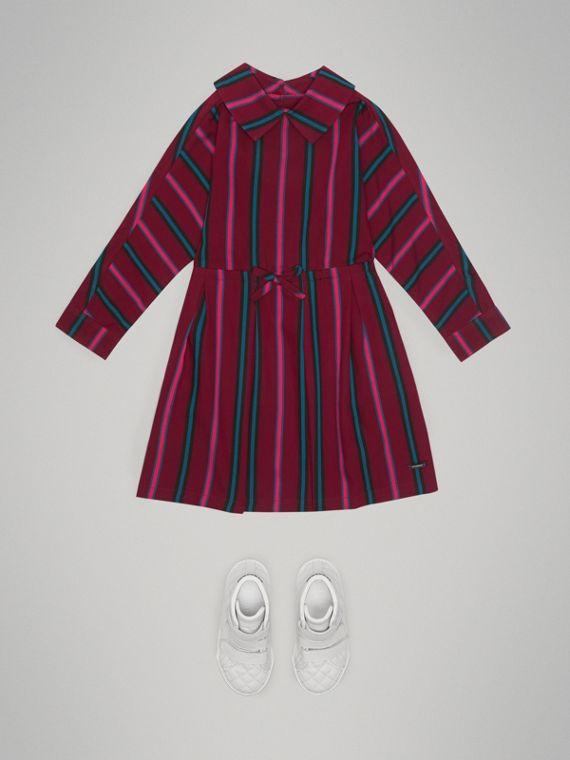 Striped Drawcord Dress in Burgundy - Girl | Burberry - cell image 2