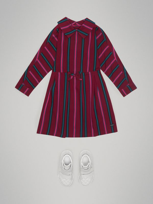 Striped Drawcord Dress in Burgundy | Burberry - cell image 2
