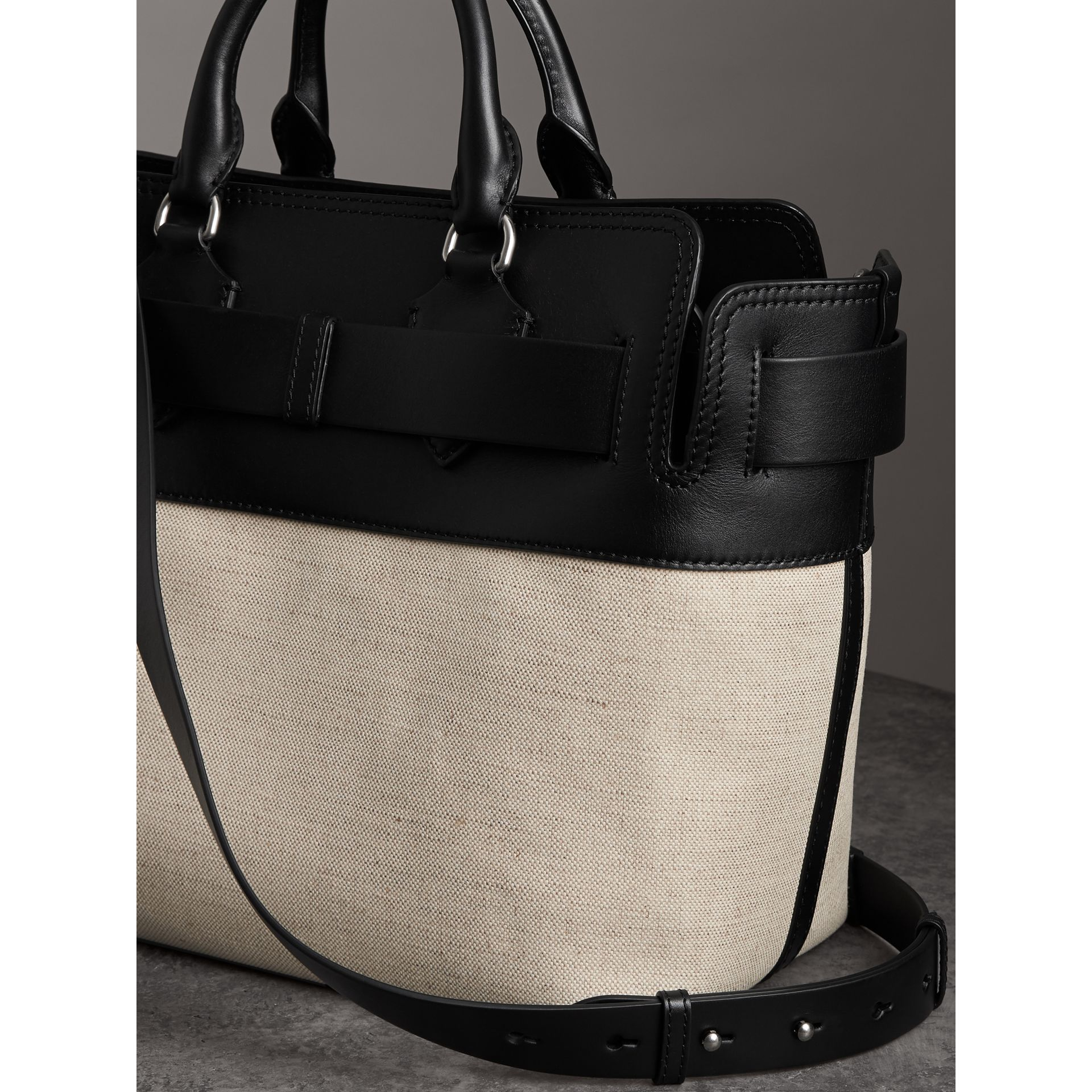 The Medium Canvas and Leather Belt Bag in Black/stone - Women | Burberry - gallery image 2