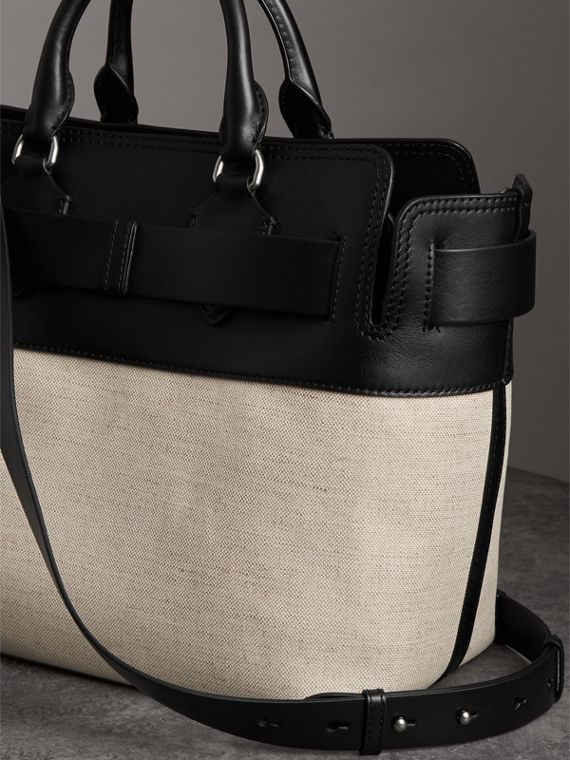 The Medium Canvas and Leather Belt Bag in Black/stone - Women | Burberry Australia - cell image 2