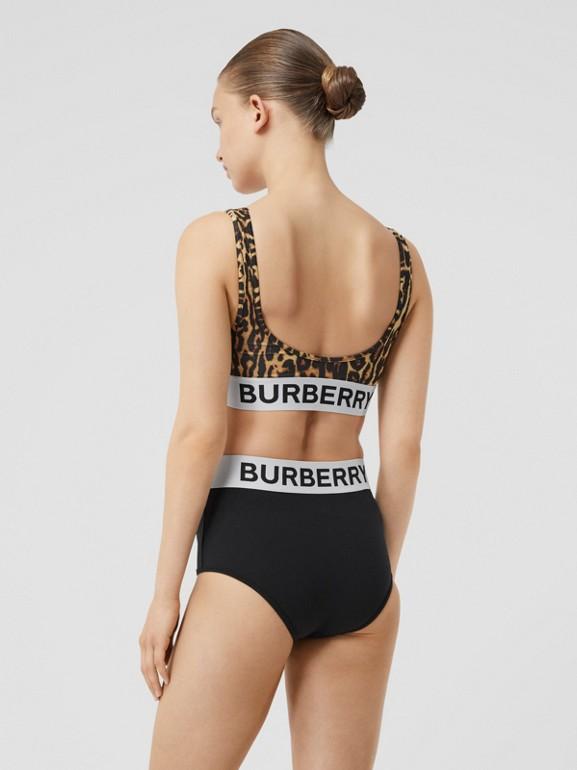 Logo and Leopard Print Bikini in Dark Mustard - Women | Burberry Canada - cell image 1