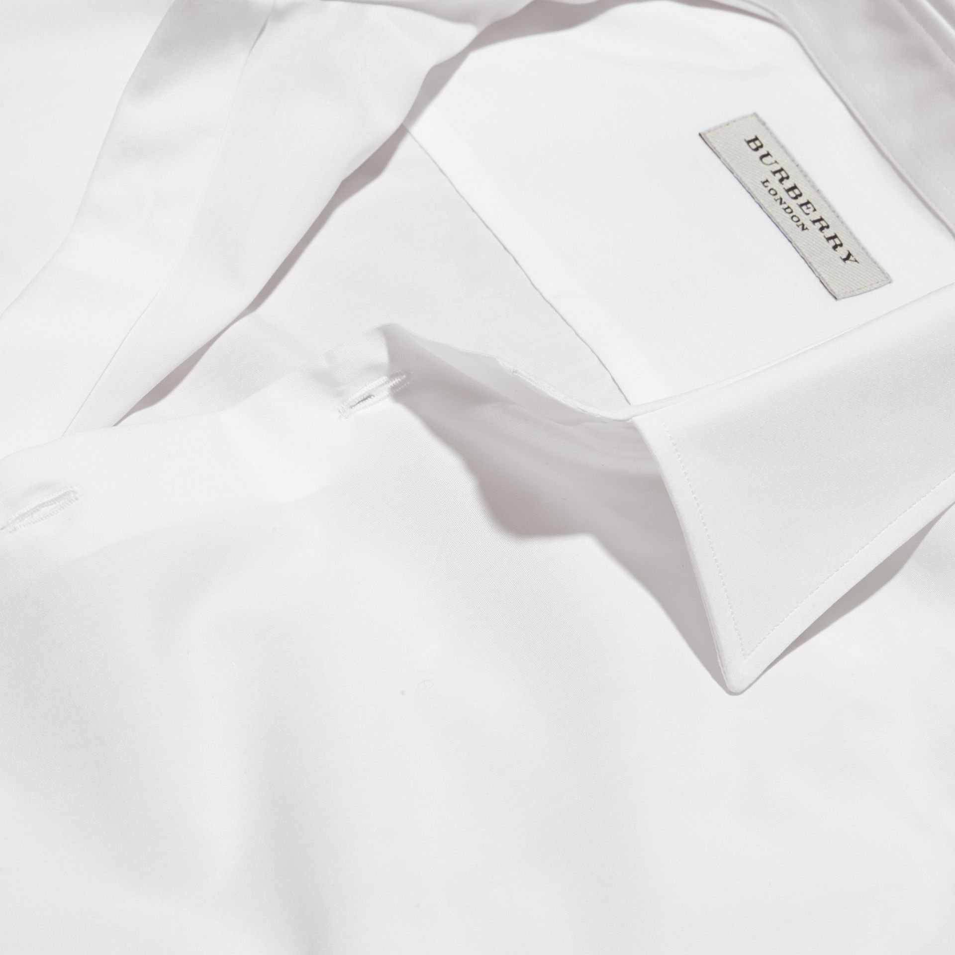 Slim Fit Cotton Poplin Shirt in White - Men | Burberry - gallery image 2