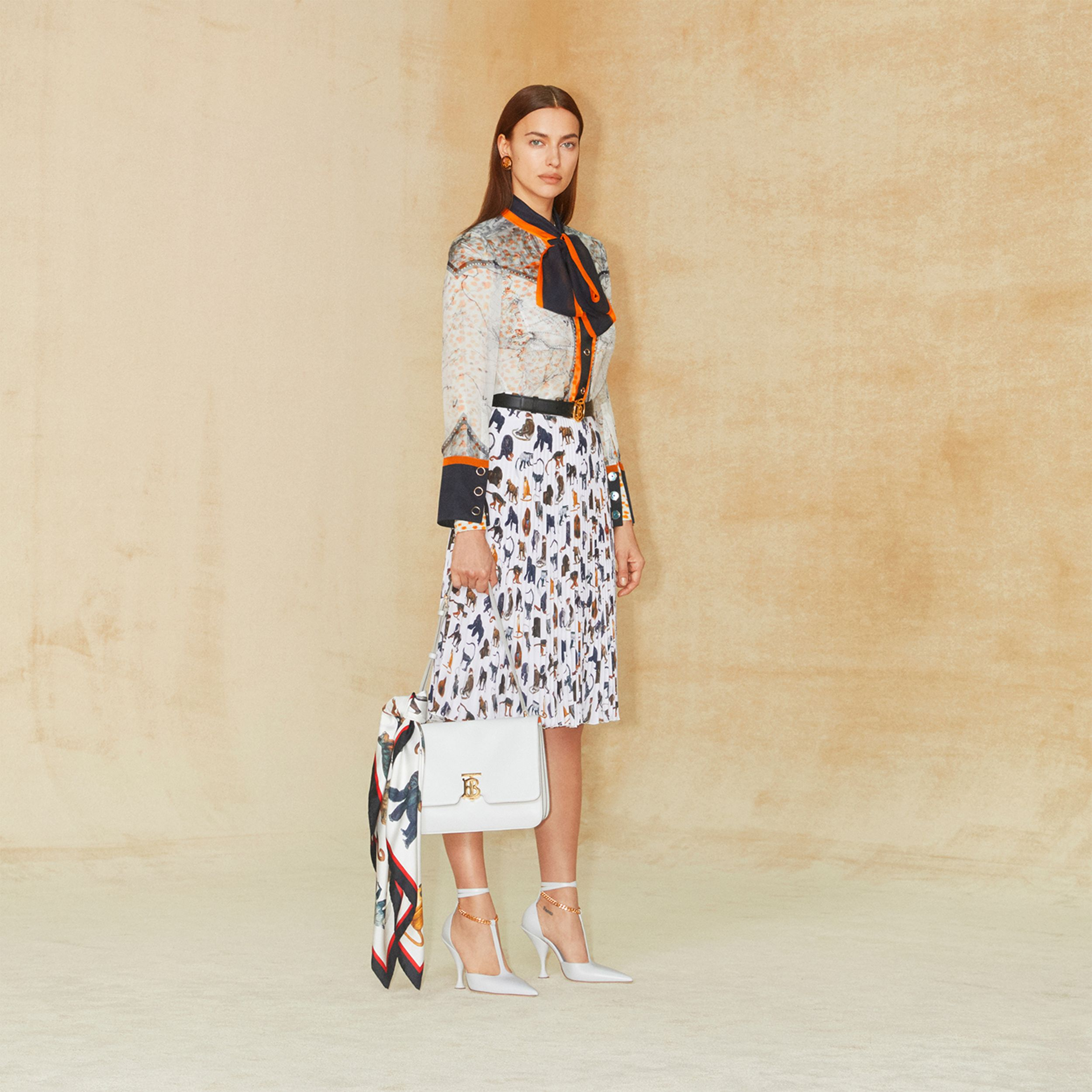 Monkey Print Crepe De Chine Pleated Skirt in White - Women | Burberry Hong Kong S.A.R. - 2