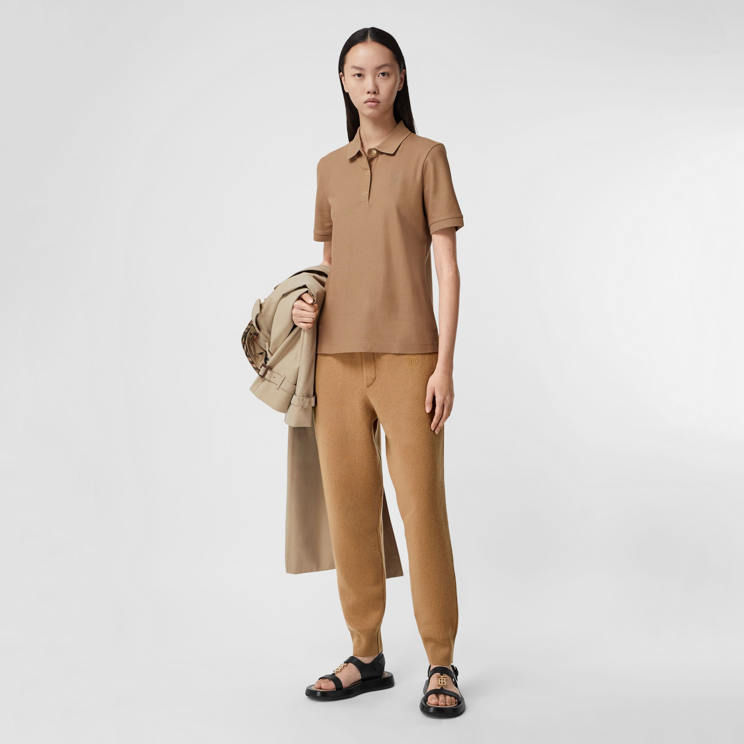 Monogram Motif Cotton Piqué Polo Shirt in Camel - Women | Burberry Hong Kong S.A.R. - 1