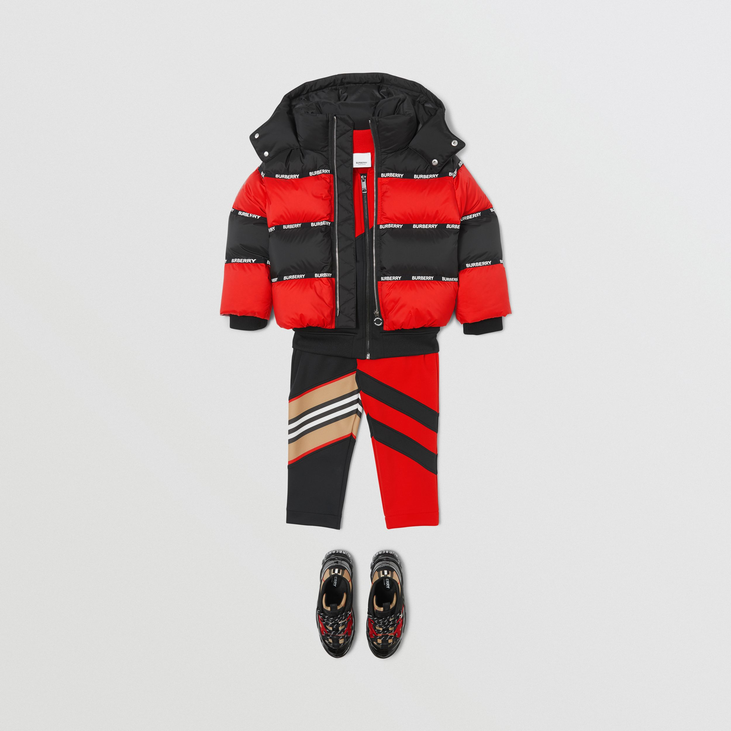 Logo Tape Striped Hooded Puffer Jacket | Burberry - 3