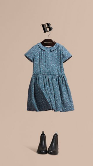 Pleat Detail Painterly Spot Print Cotton Dress